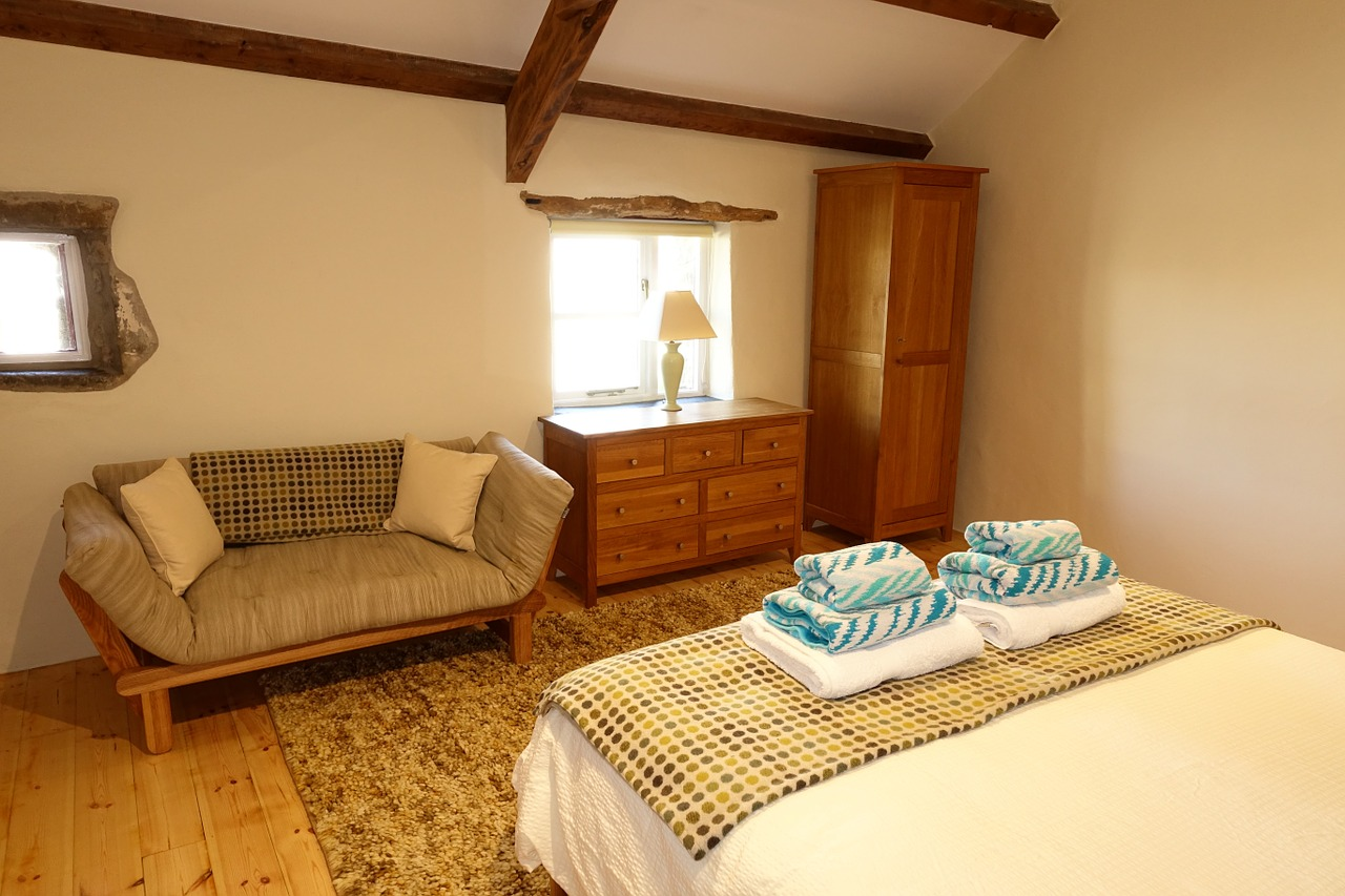 inside a beautiful countryside cottage bedroom